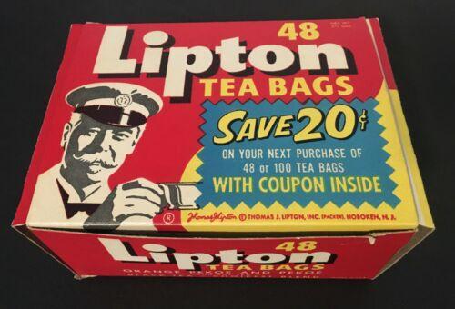 1950s LIPTON TEA BAGS BOX - GROCERY PACKAGE