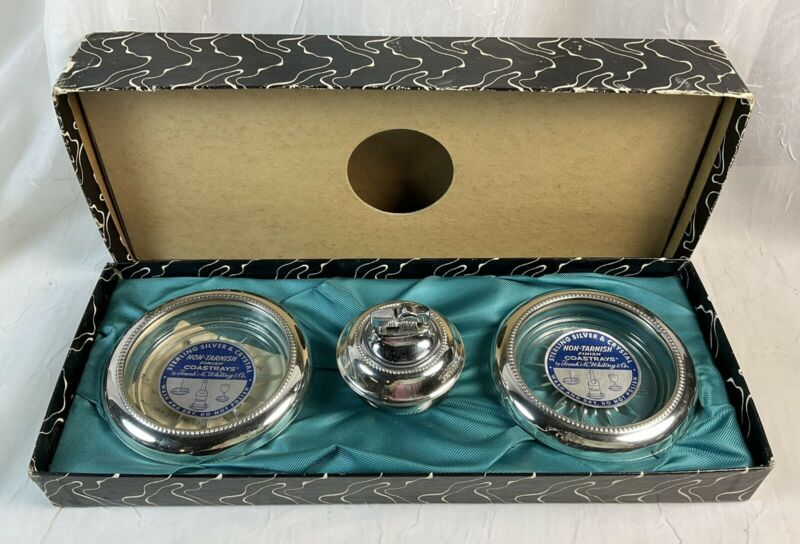 NIB Frank M. Whiting STERLING SILVER/GLASS TABLE LIGHTER And ASHTRAY/COASTER SET