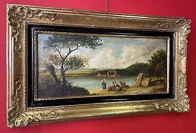 quadro antico dipinto a ad olio su tavola paesaggio fiammingo cornice anni 50 70
