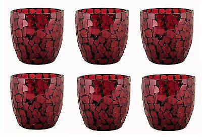 Dark Red  Mosaic Glass Votive Holder Set/6 Tea light Fuel Cell Votive Candle  (Red Mosaic Tealight Holder)