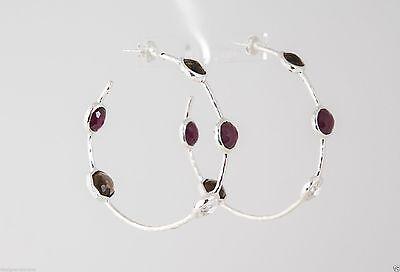 IPPOLITA Sterling Silver 5 Stone Hoop Earrings in Grape Multi