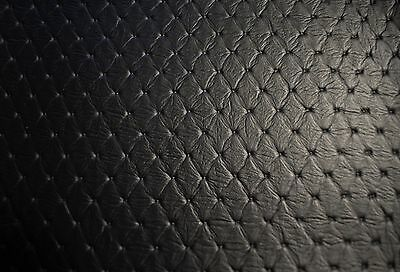 "Faux Leather Upholstery Black Diamond Vinyl Fabric Embossed Stitch 54""W Pleather"