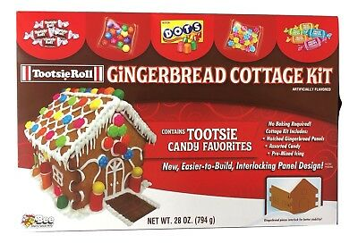 1X Tootsie Roll & Dots Gingerbread Cottage House Kit, No Bake Exp-2019, Limited