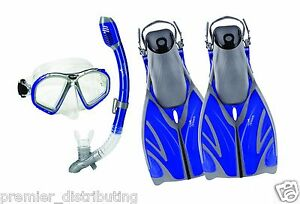 Speedo-Adult-Dive-Performance-Snorkeling-Set-Mask-Fins-Snorkel-Bag-LARGE