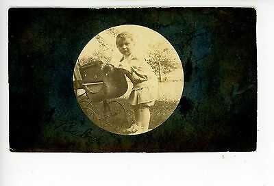 """""""Baby Buster"""" RPPC Toddler w Wicker Stroller—Antique Photo CARBONDALE 1906"""