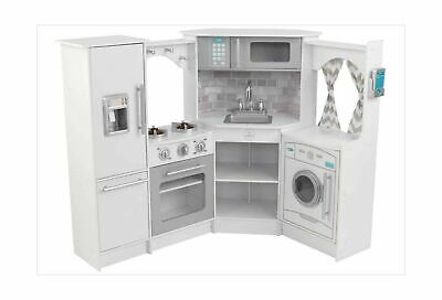 White KidKraft Ultimate Kitchen Corner Kids Set Pretend Play