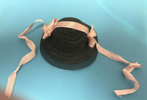 "1953 Ginny Black Straw Hat from Desirable  ""Becky""  ""Debutante Series""  #62"