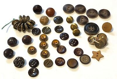 Vintage Lot 56 Antiqued Gold Tone  & Brown Plastic Sewing Buttons