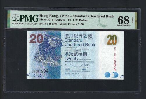 Hong Kong 20 Dollars 1-1-2014 P297d Uncirculated Grade 68