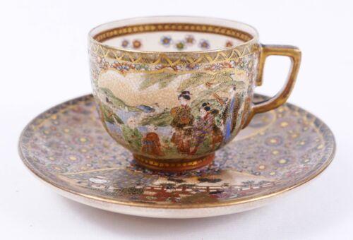 Fine Japanese Satsuma Cup Saucer by Hozan Matsumoto - Meiji