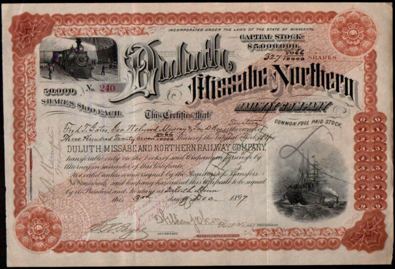 1897 Fred T Gates  John D Rockefeller Financial Advisor Duluth Stock Certificate