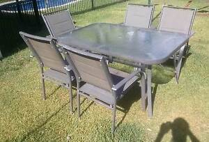 Outdoor Glass Table & Chairs Setting Five Piece Tuncurry Great Lakes Area Preview