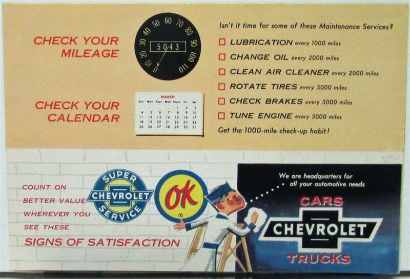 1956 Chevrolet Showroom Glamor & Sharpening Methods OK Service Mailer