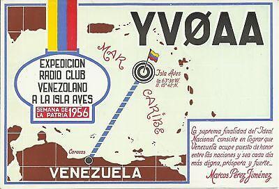 OLD VINTAGE YV0AA EXPEDICION RADIO CLUB VENEZUELA AMATEUR RADIO QSL CARD