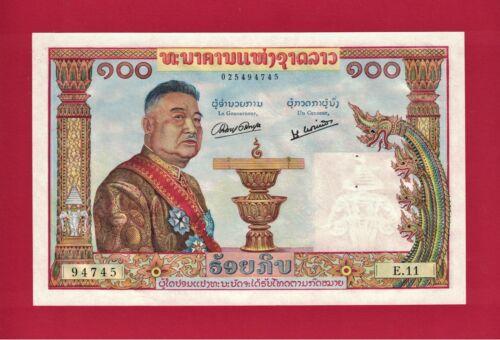 COLORFUL 1957 100 CENT KIP LAOS BANKNOTE (Pick-6) PRINTER: BANK DE FRANCE (BF)