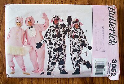 OOP UNCUT VTG BUTTERICK PATTERN 3052 - COW & PIG HALLOWEEN COSTUMES - 4 ADULT SZ](Pig Costume Pattern)