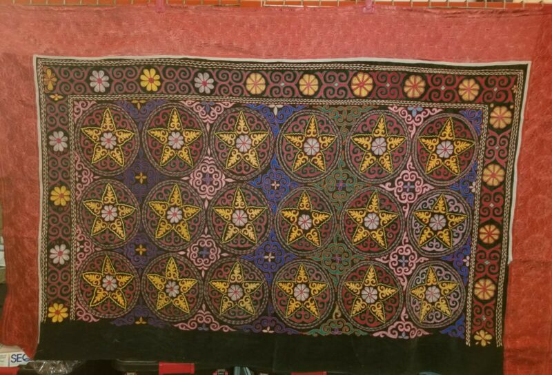 Traditional Hand Embroidered Kazakh Tapestry  Wall hanging/Quilt   (83 x 54)