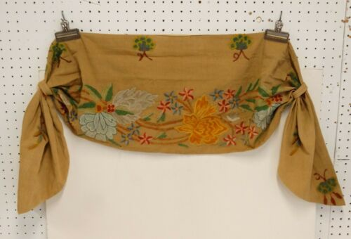 ANTIQUE CREWEL EMBROIDERY CURTAIN SWAG Floral Design #1