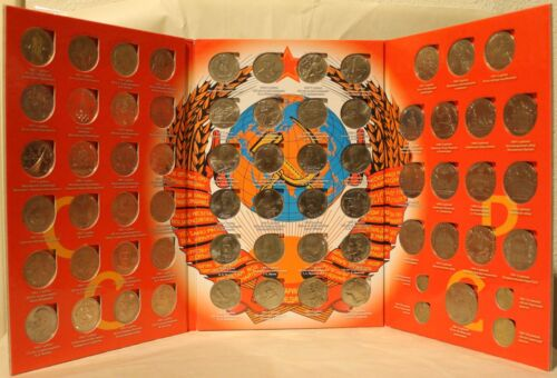 COMPLETE Soviet Commemorative Rubles Coin Set + Book USSR Russia 1 3 5 Roubles