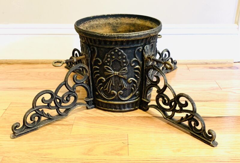 Vintage Cast Iron Ornate Christmas Tree Stand  Victorian Gold Accents Heavy