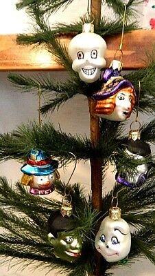 Set of 6  Mini Halloween  Monster Mash Mix Blown Glass Tree Ornaments  Poland  ()