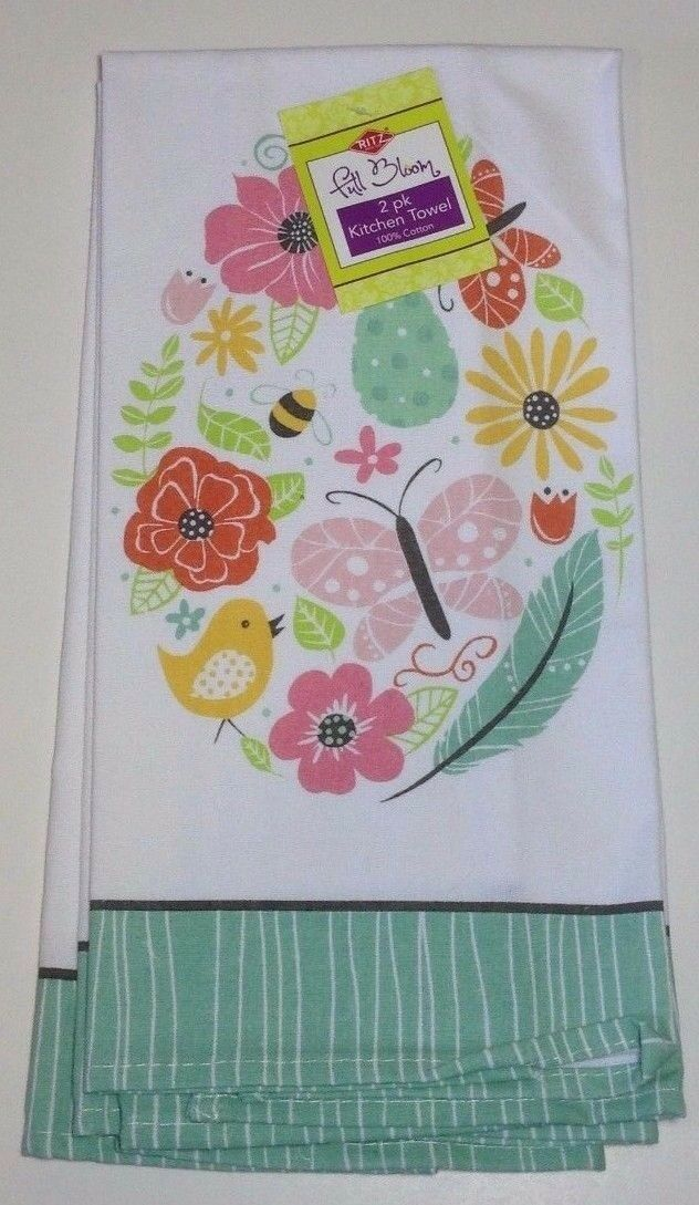 "Ritz Full Bloom 2 Kitchen Towels, Spring ""Botanical Egg"" New"