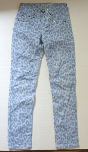 Justice Girls 10 Blue Leopard Bling Casual Pants Straight Leg Jean