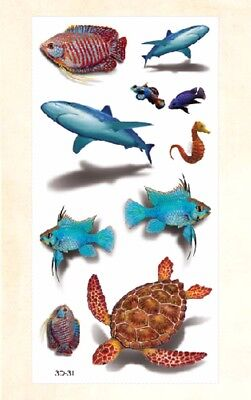 US Seller- waterproof tatoo women 3D turtle fish sharp sea life temporary - Fish Tatoos