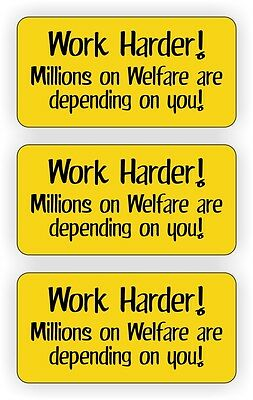 3 Work Harder Hard Hat Stickers Decals Funny Labels Millions On Welfare Usa