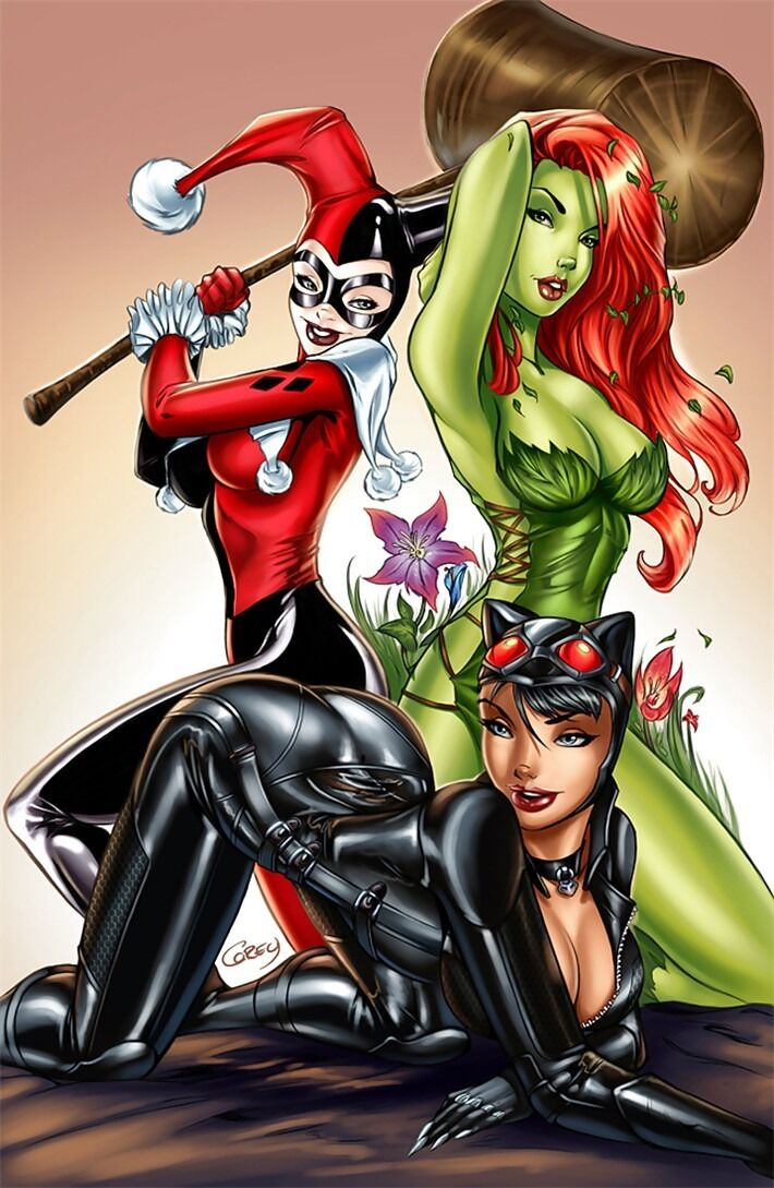 """Harley Quinn Poison Ivy Catwoman Comics Hot Girl Heroines 32 x 24/"""" Poster H04"""
