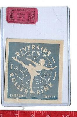 vintage lot roller rink decal Riverside Sanford Maine & ticket
