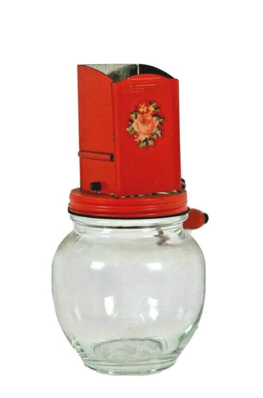 VintageAndrock Red Nut Grinder on Hazel Atlas Glass Jar - Farmhouse style