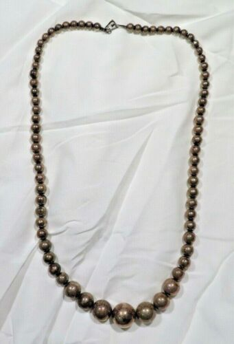 """HUGE Sterling Silver graduated Ball necklace 30"""" over 3 oz weight OLD Maverick"""