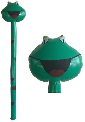 Bulk Lot 12 x Inflatable Frog Animal Stick 126 cm Blow Up Kids Novelty - Inflatable Novelties Wholesale