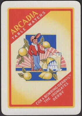 Playing Cards Single Card Old Vintage Wide ARCADIA TABLE WATERS Advertising BOY