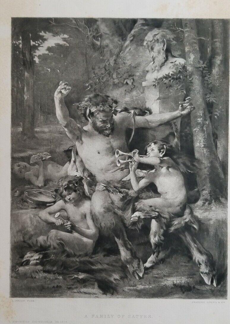 A FAMILY OF SATYRS Print L Priou Pinx Gravure Goupil Co 1872 Greek Mythology - $24.00