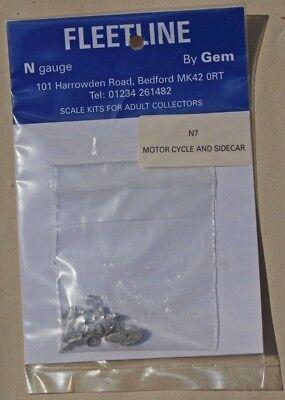N Gauge Fleetline Metal Kit - Motor Cycle and Sidecar (N7) for sale  New Milton