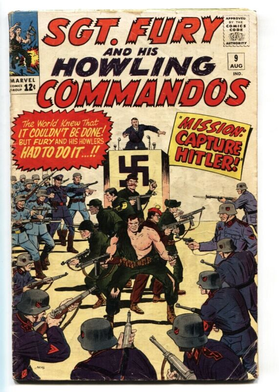 SGT FURY AND HIS HOWLING COMMANDOS-#9-1964-MARVEL-KIRBY ART-WWII-HITLER