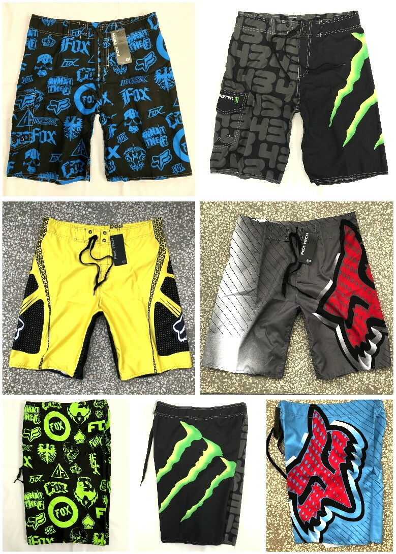 Mens Board Shorts Fox Summer Printed Quick-Dry Swim Trunks Beach Shorts