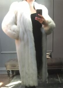 Beautiful Arctic Blue Fox White Fur Coat Full Length Coat