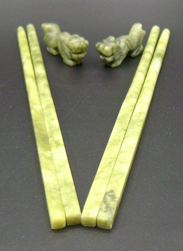 Jade (Green) Chopsticks with Dragon Shaped Rests
