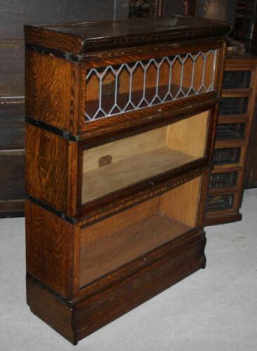 Oak Globe Wernicke Three High Sectional Bookcase leaded glass Section – original