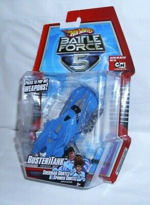Hot Wheels Battle Force 5 Buster Tan Vehicle Press to pop out Weapons New 2009