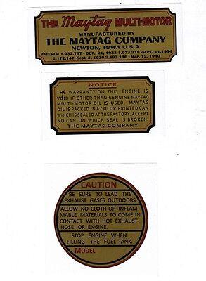 Maytag Gas Engine Decal Set Twin & Singles 92 72 Multi Motor Wringer Hit Miss