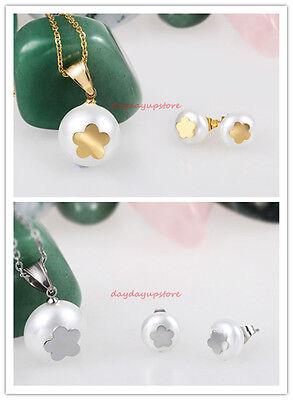 (Lovely Star White Pearl Bear Pendant Necklace & Earring Set 316L Stainless Steel)