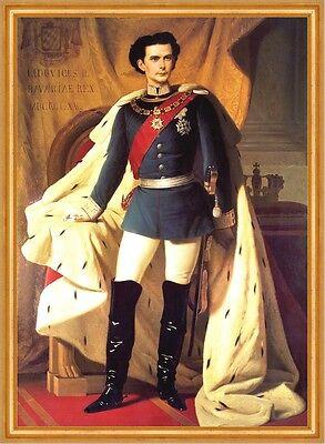 Ludwig II. König von Bayern Gemälde auf Leinwand im Goldrahmen 12 von Piloty1864