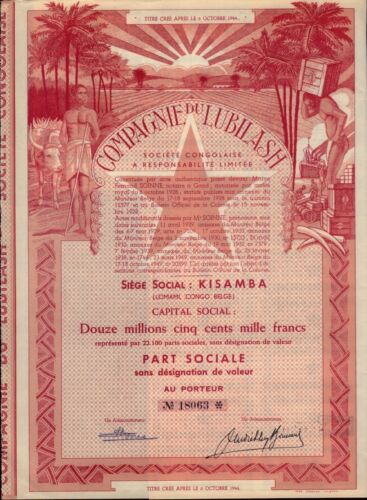 AFRICA CONGO Compagnie du Lubilash Kisamba dd 1944