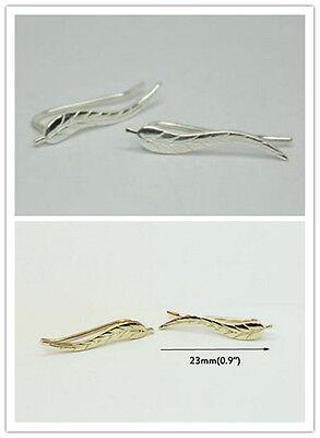 Silver Ear Climber Earrings Set Cuffs Pins Leaf Ear Lobe Crawler New CA