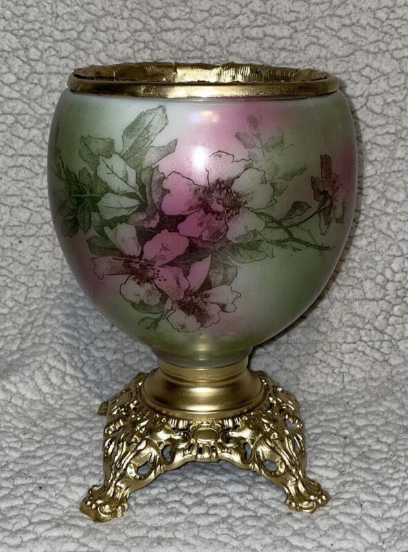 Antique GWTW Banquet Parlor Kerosene Oil Lamp Hand Painted Base - BASE ONLY