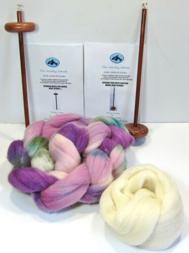 Double Drop Spindles Yarn Spinning Kit Maple Wood Colorway, Vineyards
